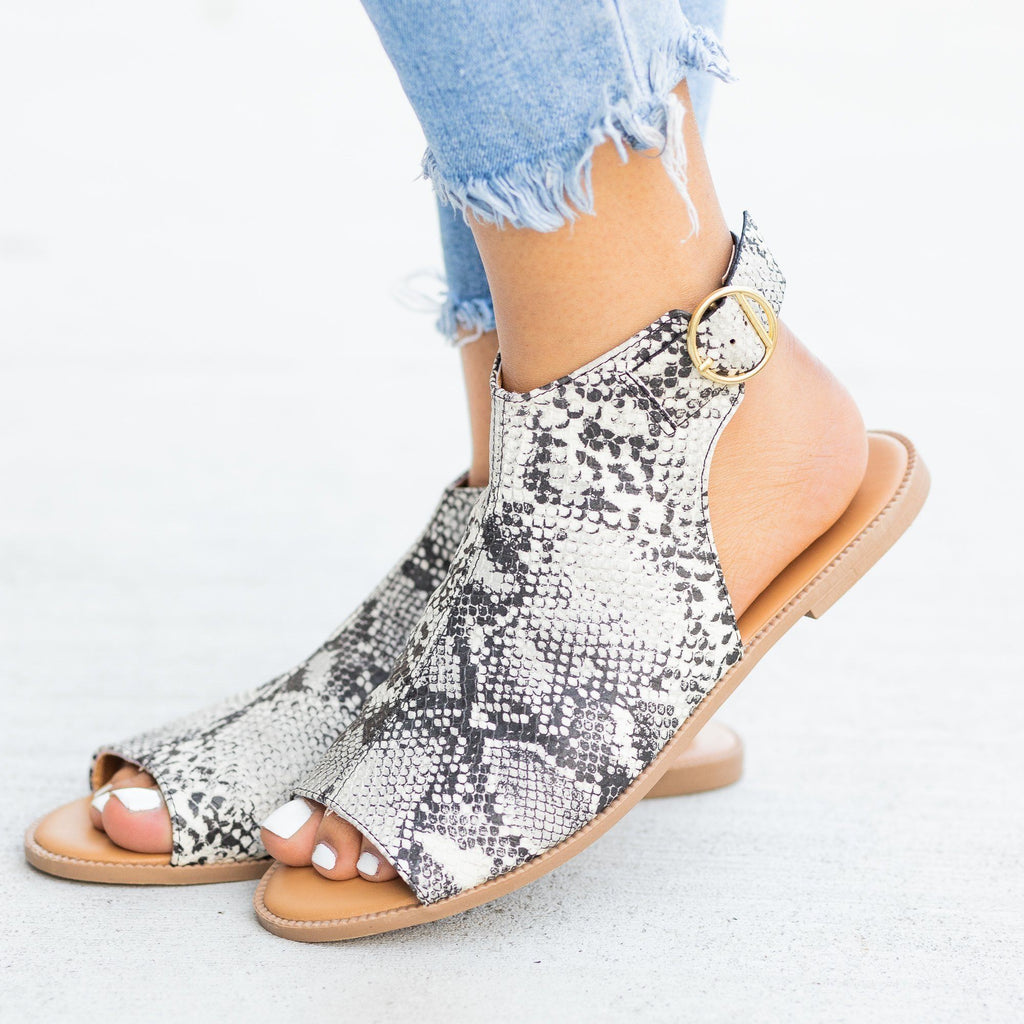 Womens Open-Toe Mule Sandals - Qupid Shoes