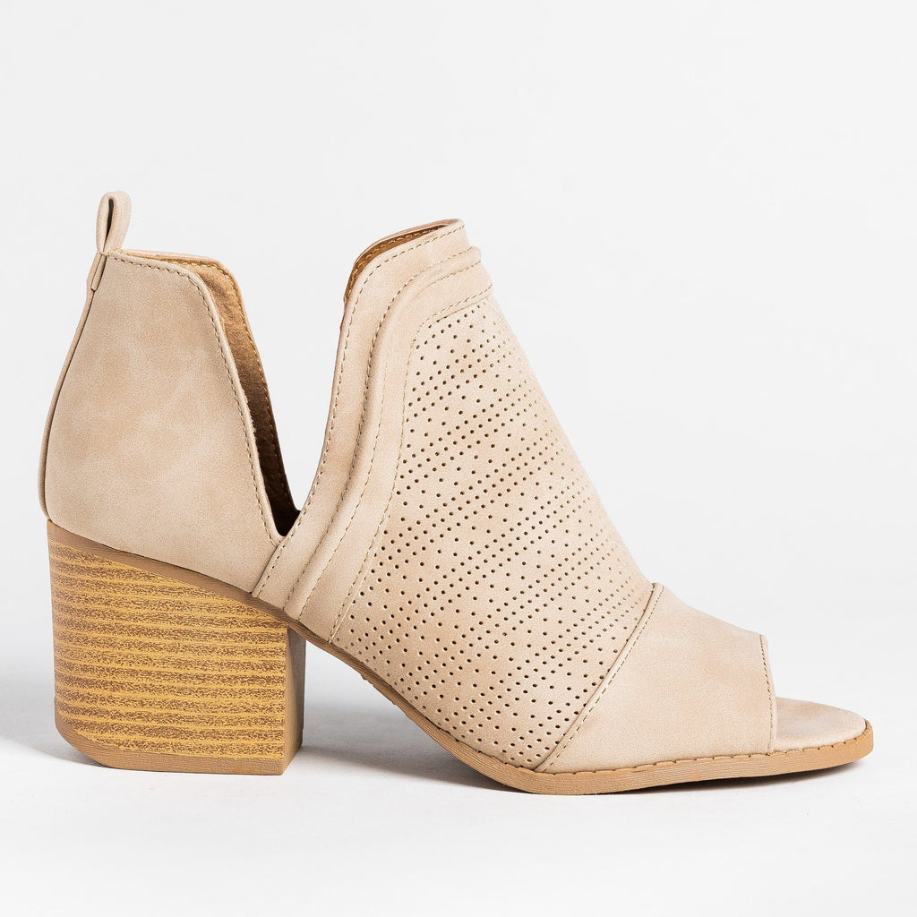 Womens Open-Toe Pinhole Booties - Qupid Shoes - Light Taupe / 5