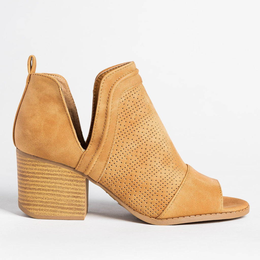 Womens Open-Toe Pinhole Booties - Qupid Shoes - Tan / 5