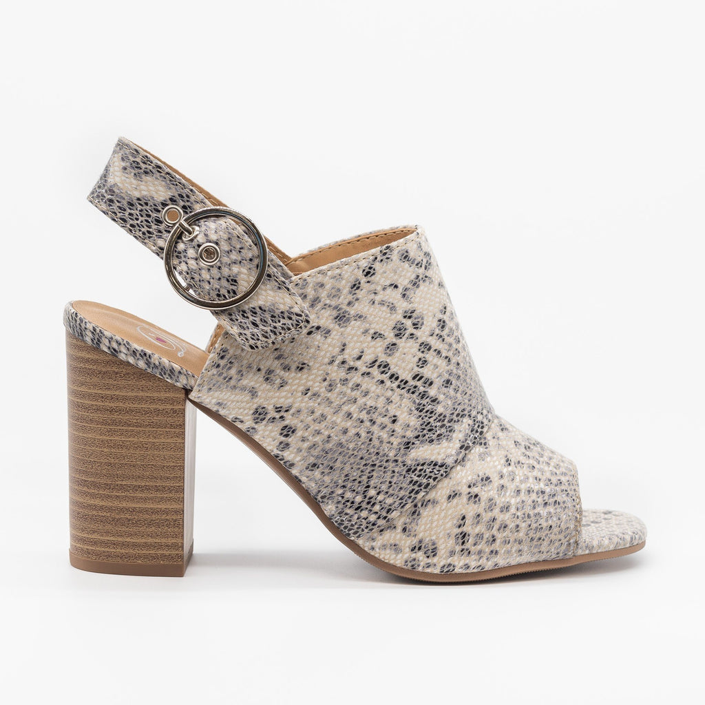 Womens Open-Toe Slingback Mule Heels - Delicious Shoes - Beige Python / 5