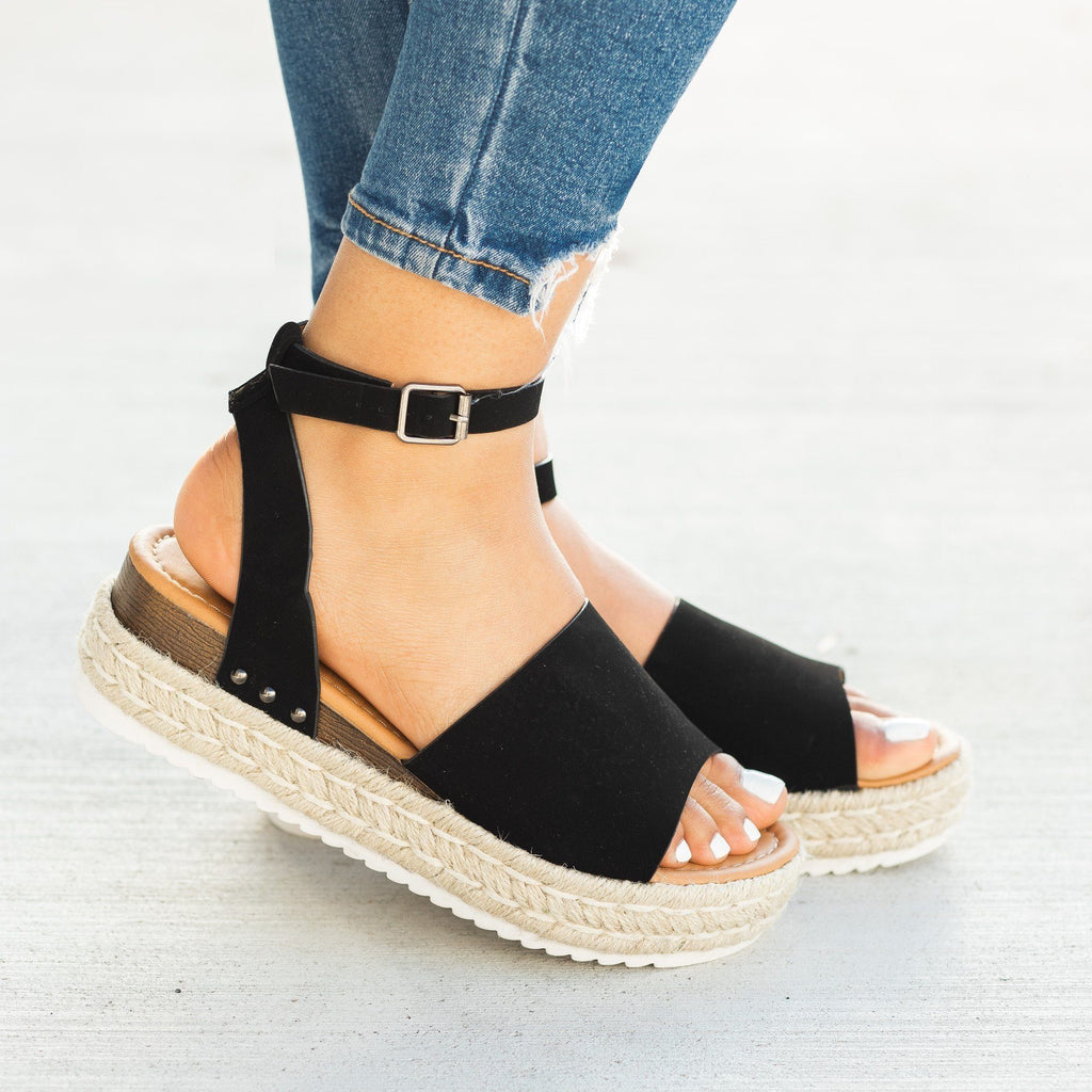 Womens Open-Toed Espadrille Flatform Sandal Wedges - Soho Girls - Black / 5