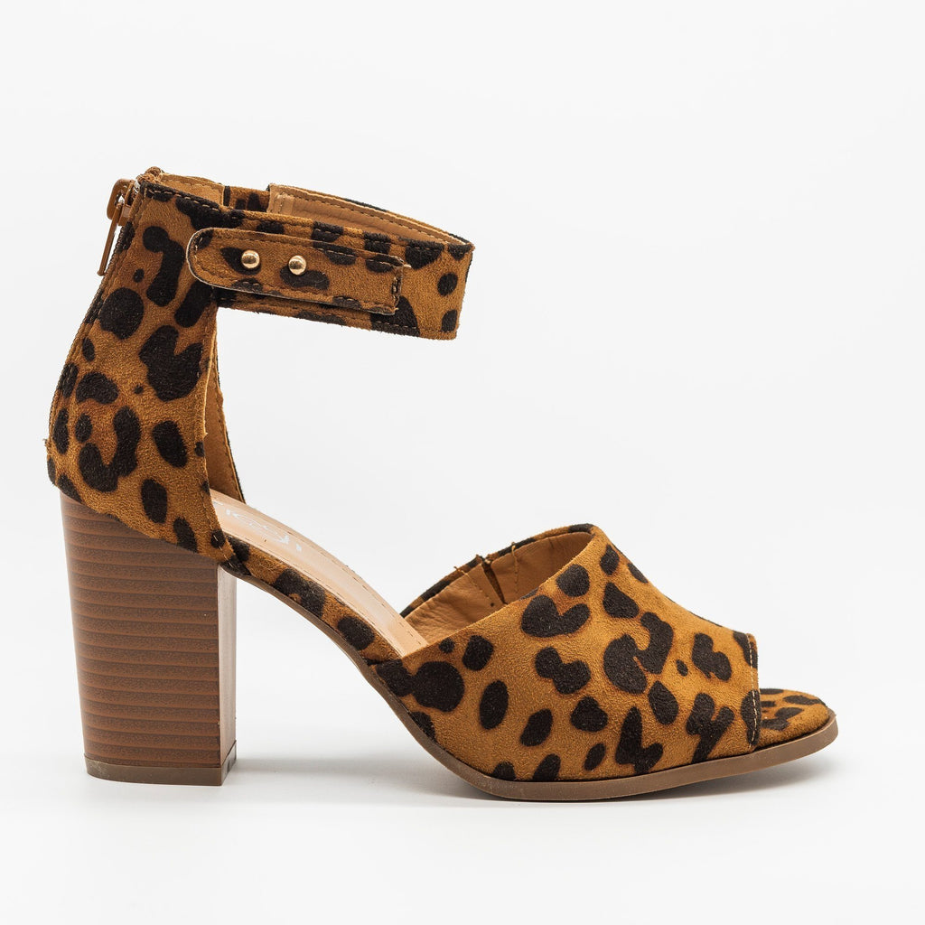Womens Open-Toed Studded Chunky Heels - Refresh - Leopard / 5