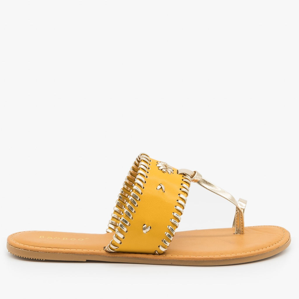 Womens Ornate Toe Hold Sandals - Bamboo Shoes - Marigold / 5