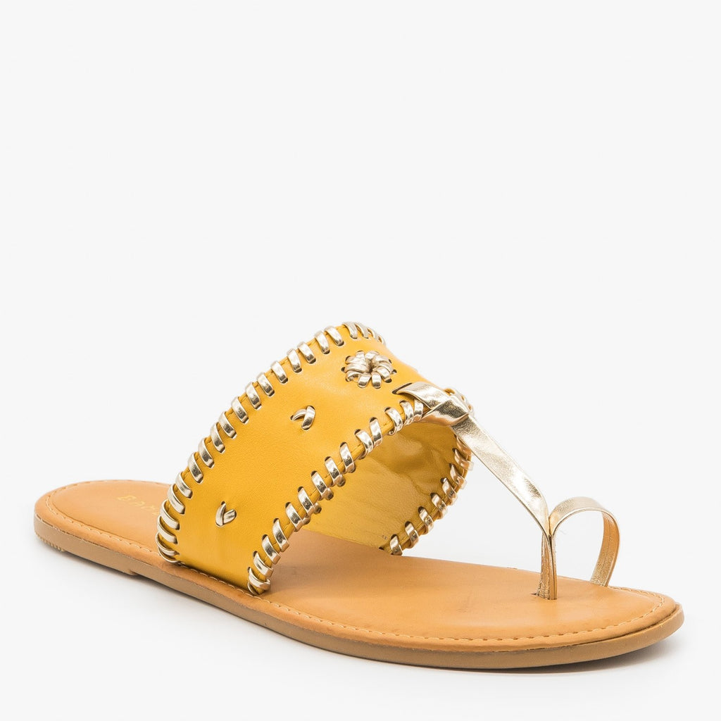 Womens Ornate Toe Hold Sandals - Bamboo Shoes