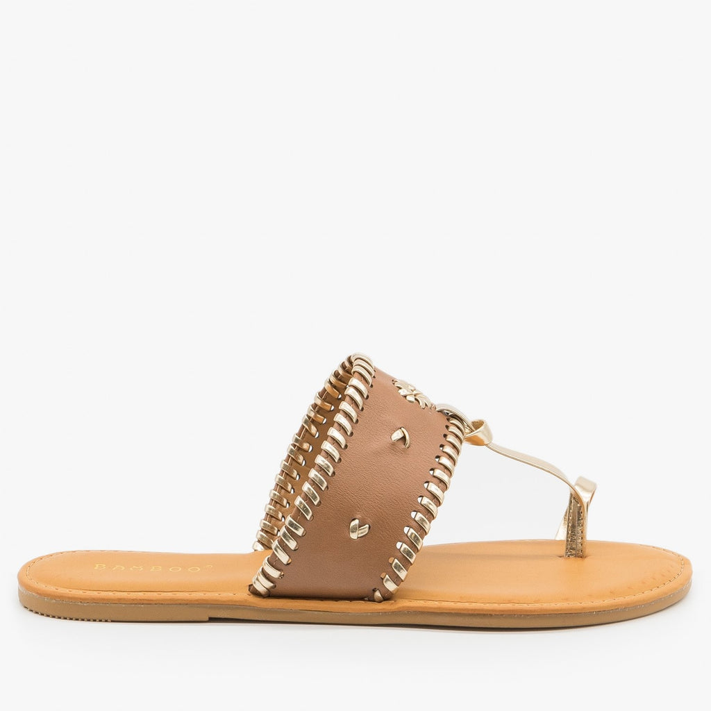 Womens Ornate Toe Hold Sandals - Bamboo Shoes - Tan / 5