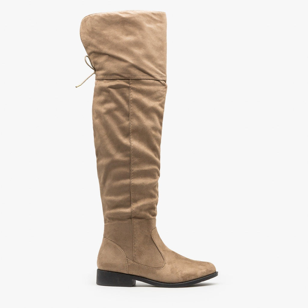 Womens Over the Knee Riding Boots - Qupid Shoes - Taupe / 5