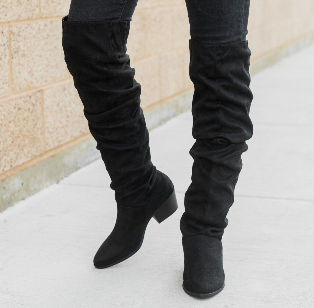 Womens Over The Knee Slouchy Boots - Qupid Shoes
