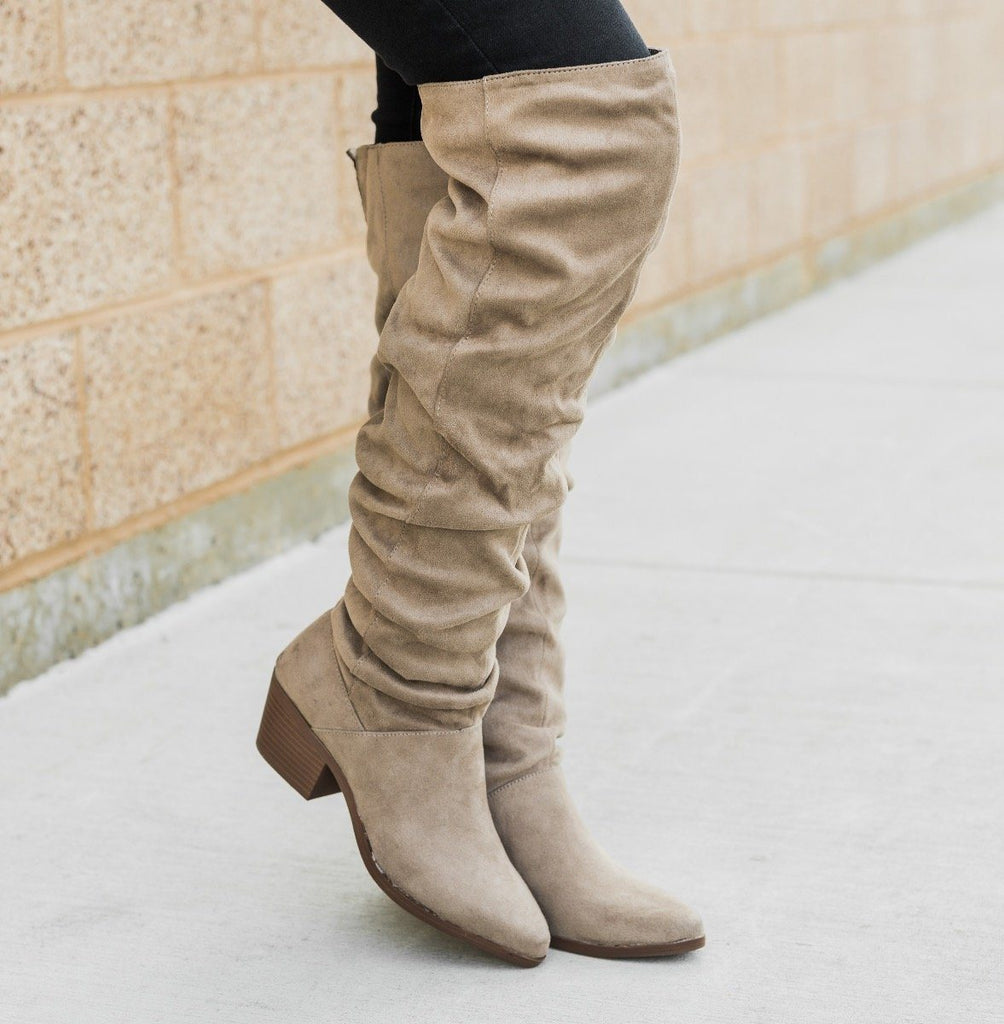 Womens Over The Knee Slouchy Boots - Qupid Shoes - Taupe / 6.5