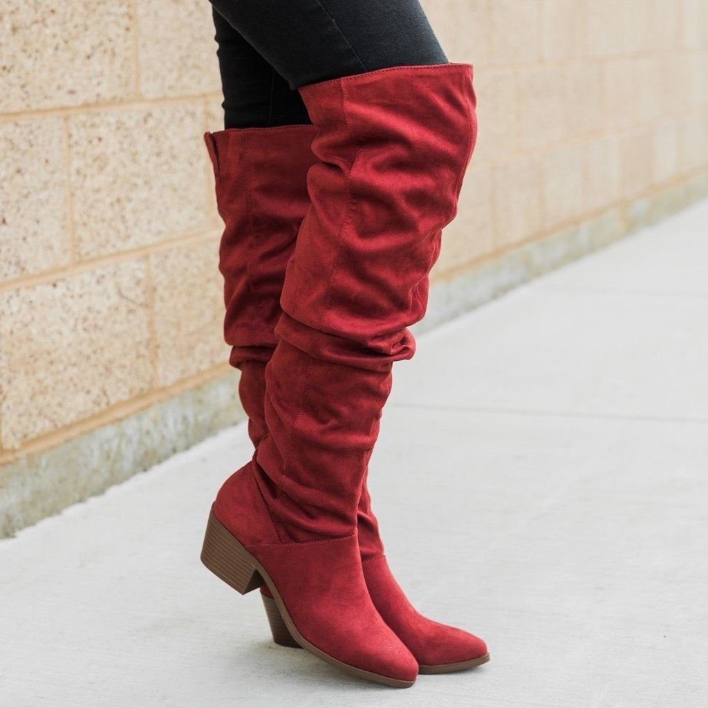Womens Over The Knee Slouchy Boots - Qupid Shoes - Adobe Red / 5