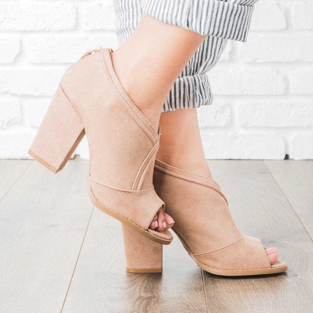 Womens Overlap Peep Toe Heel Booties - Qupid Shoes