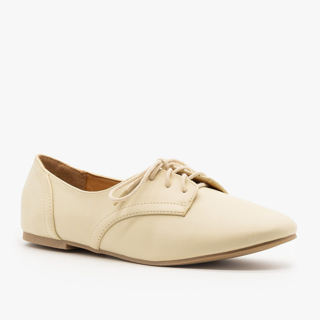 Womens Oxford-Inspired Flats - City Classified Shoes - Off White / 5
