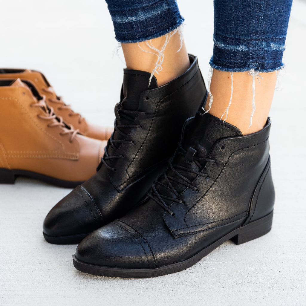 Women's Oxford Style Booties - Novo Shoes