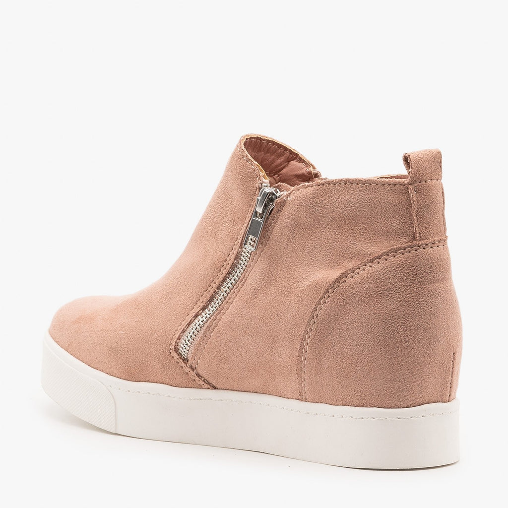 Womens Pastel Zippered Wedge Fashion Sneakers - Soda Shoes