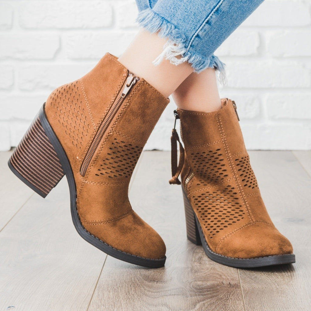 Womens Patchwork Chunky Heel Booties - Soda Shoes