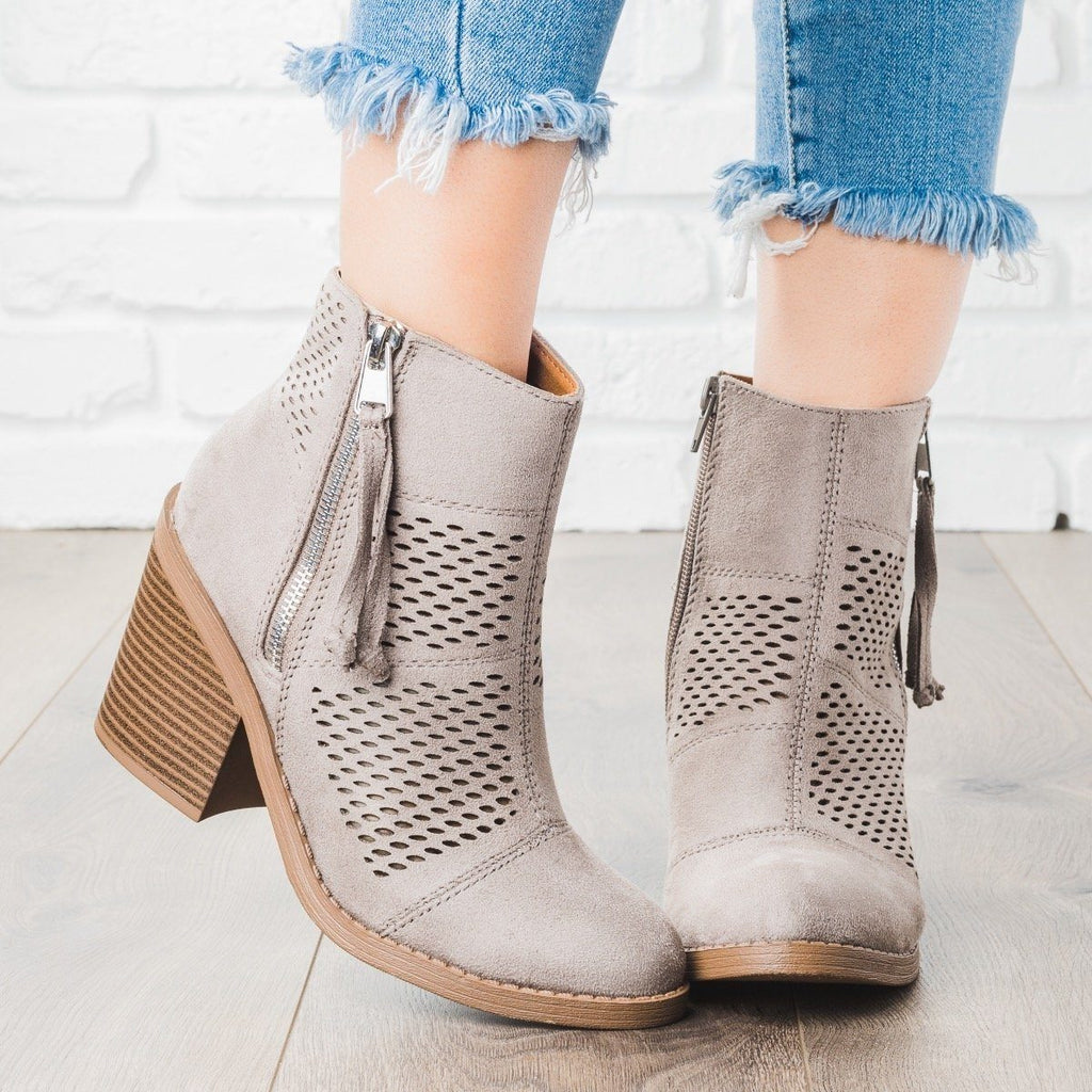 Womens Patchwork Chunky Heel Booties - Soda Shoes - Smoke Gray / 5