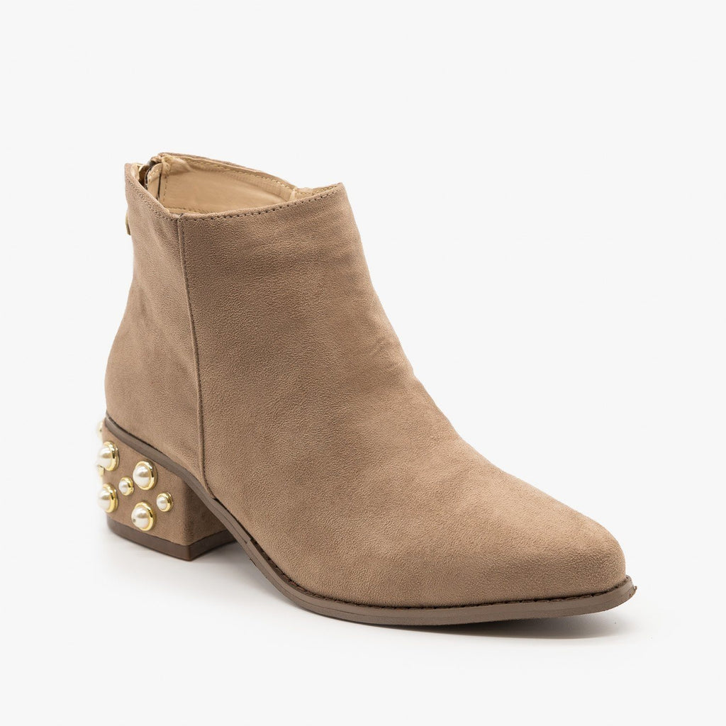 Womens Pearl Studded Ankle Booties - ML Shoes - Taupe / 5