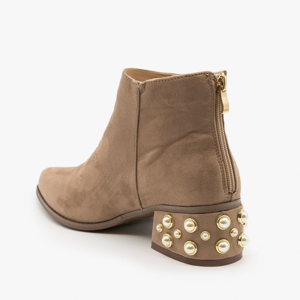 Womens Pearl Studded Ankle Booties - ML Shoes