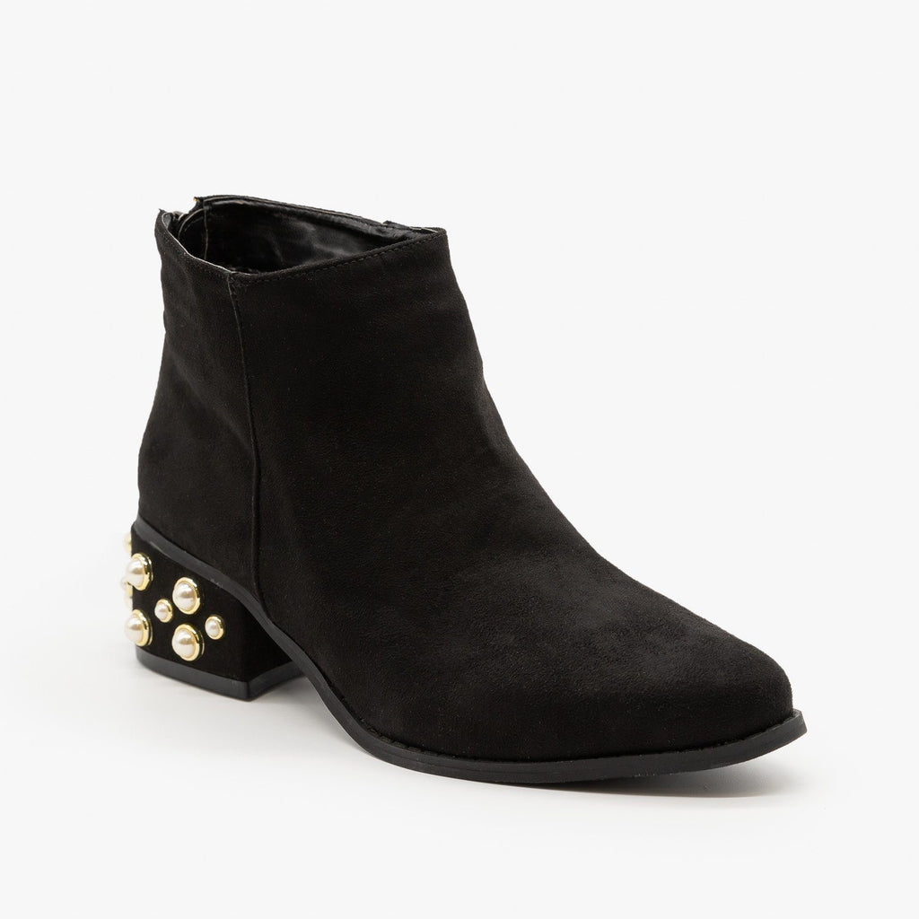Womens Pearl Studded Ankle Booties - ML Shoes - Black / 5