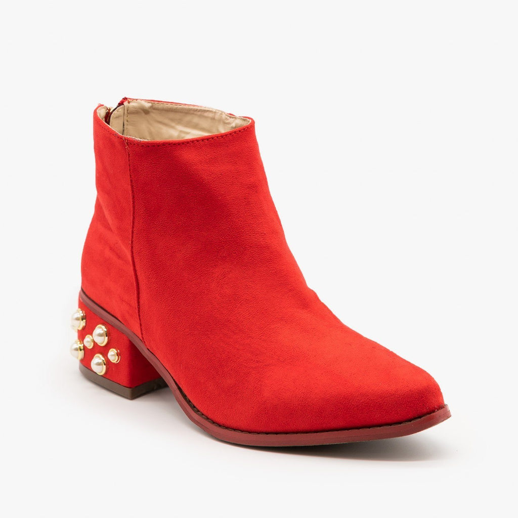Womens Pearl Studded Ankle Booties - ML Shoes - Red / 5
