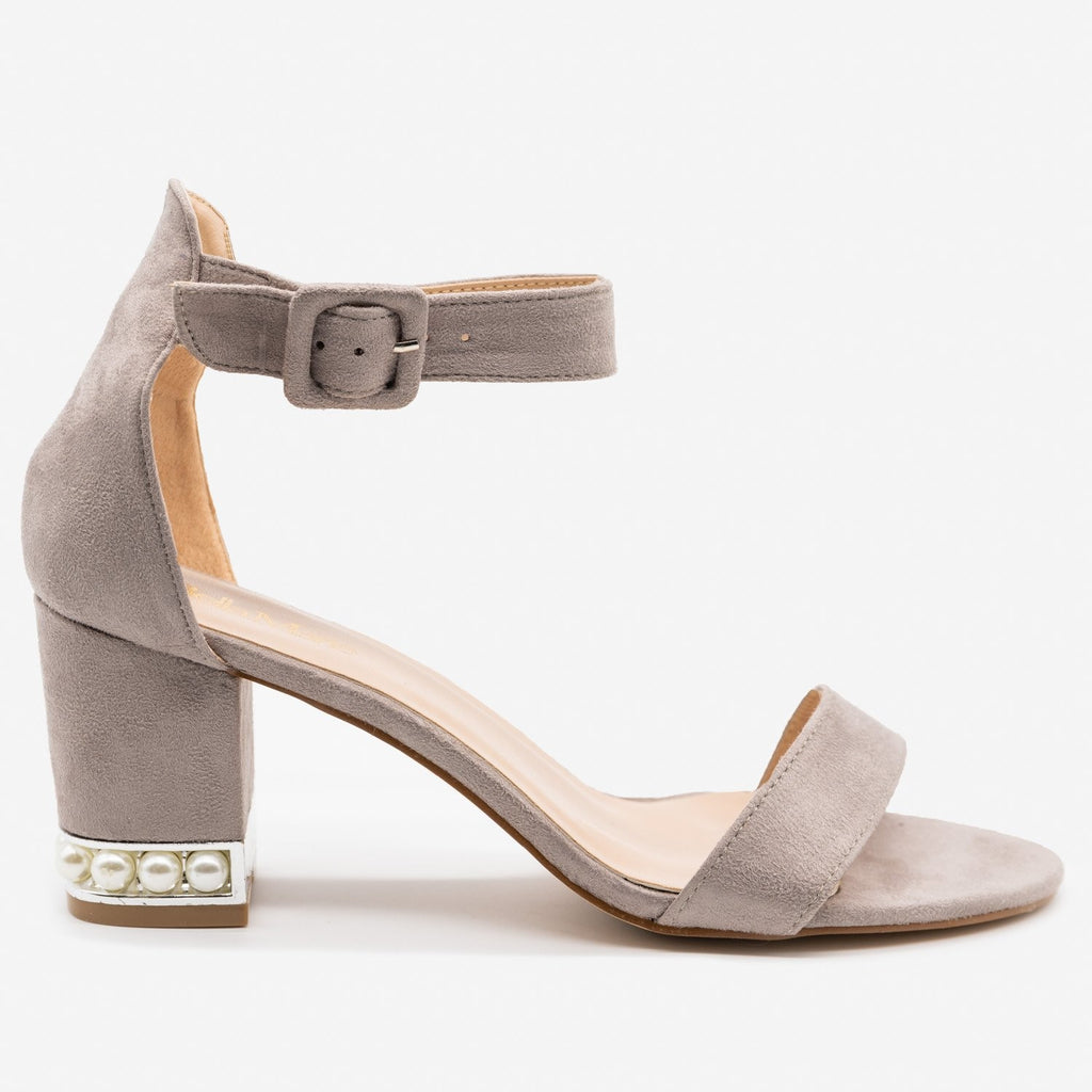 Women's Pearl Studded Chunky Heels - Bella Marie - Gray / 5