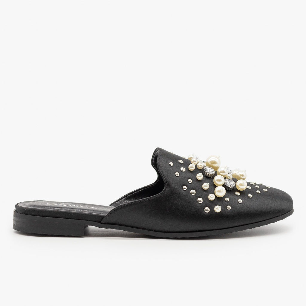 Womens Pearl Studded Satin Mules - Paprika Shoes