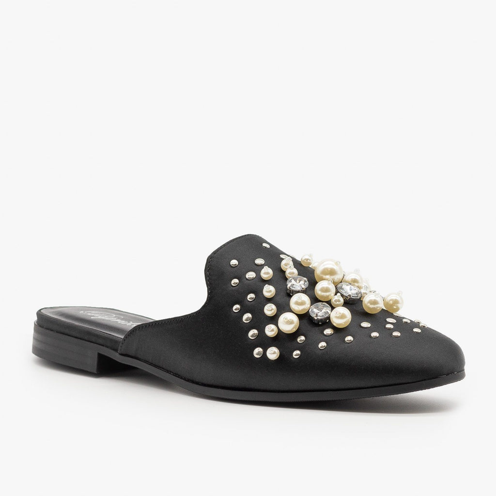 Womens Pearl Studded Satin Mules - Paprika Shoes - Black Satin / 5