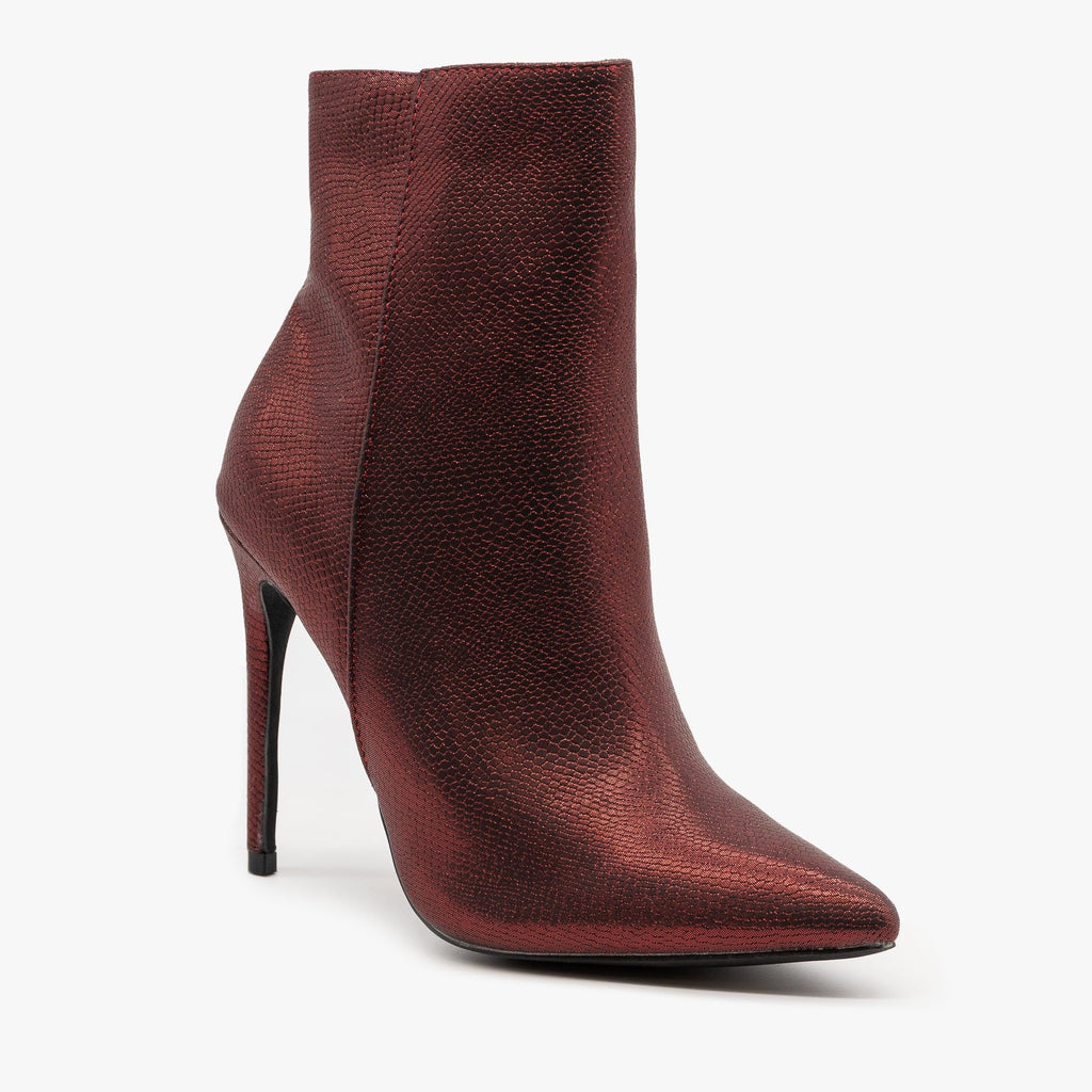 Womens Pearly Snake Stiletto Booties - Mata - Red / 5