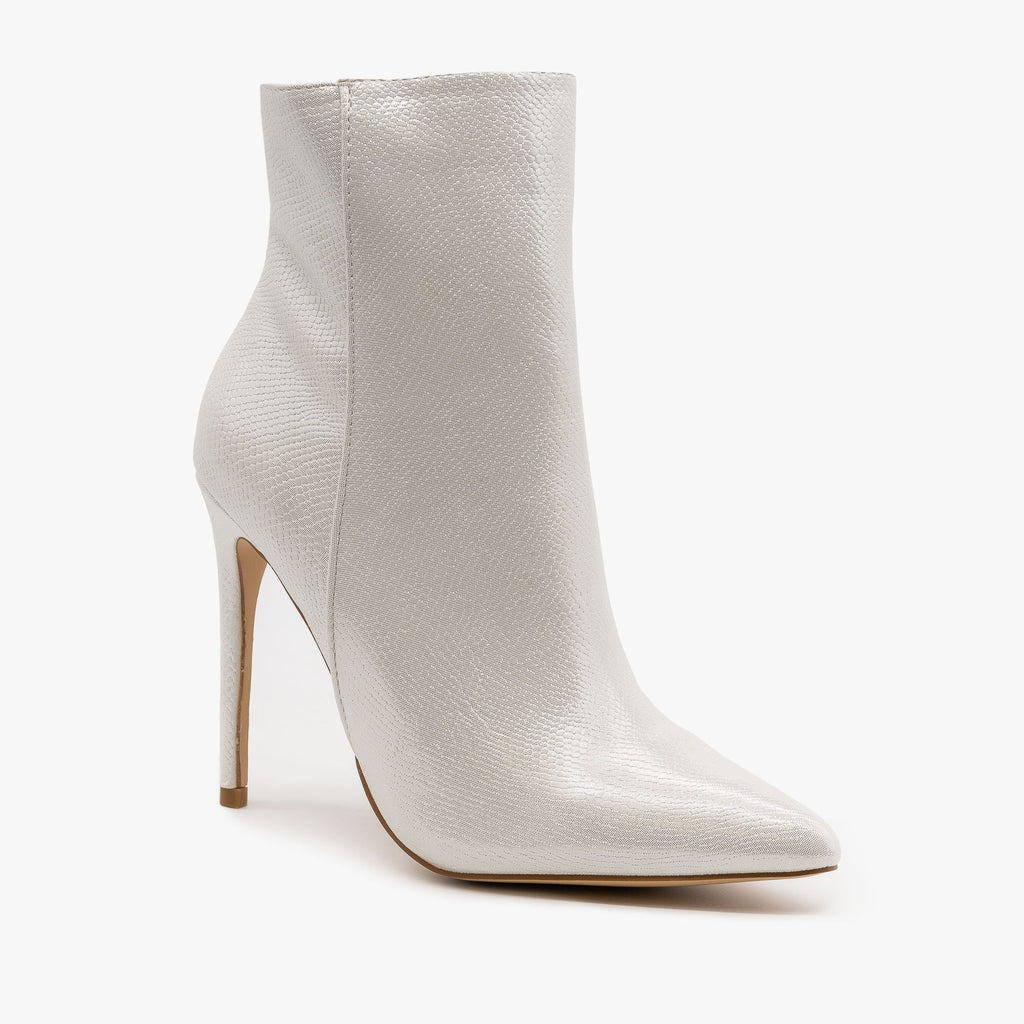 Womens Pearly Snake Stiletto Booties - Mata - White / 5