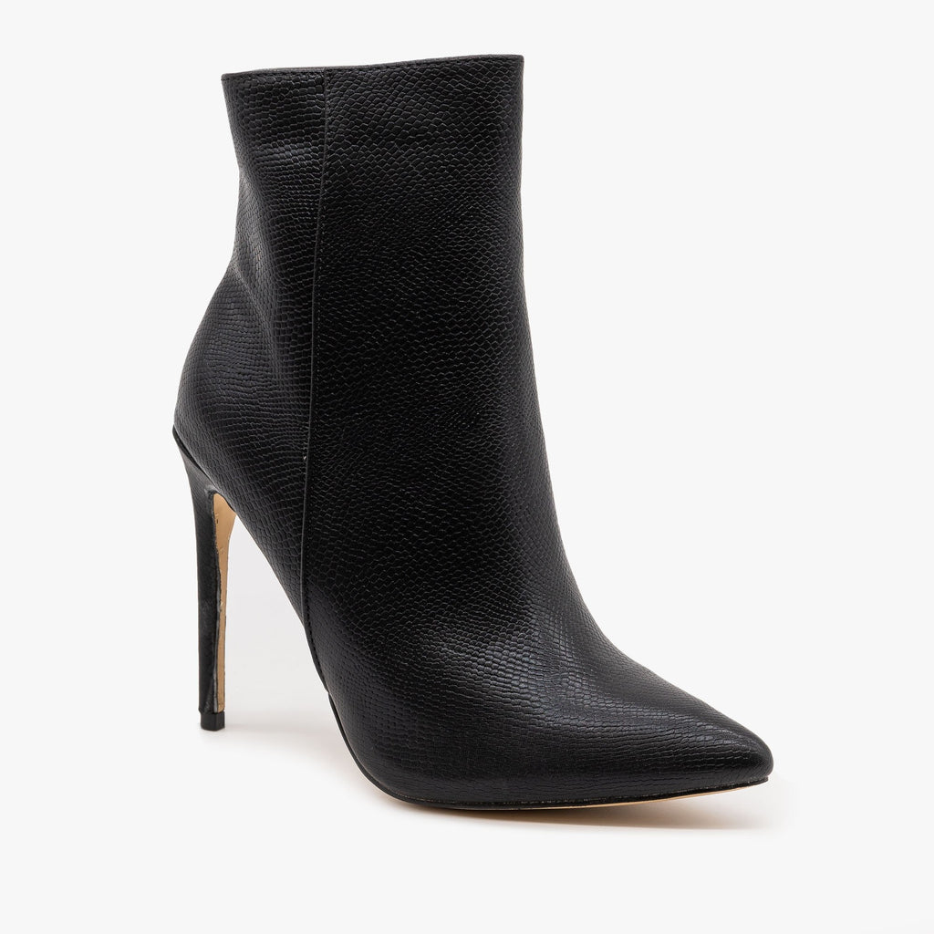 Womens Pearly Snake Stiletto Booties - Mata - Black / 5