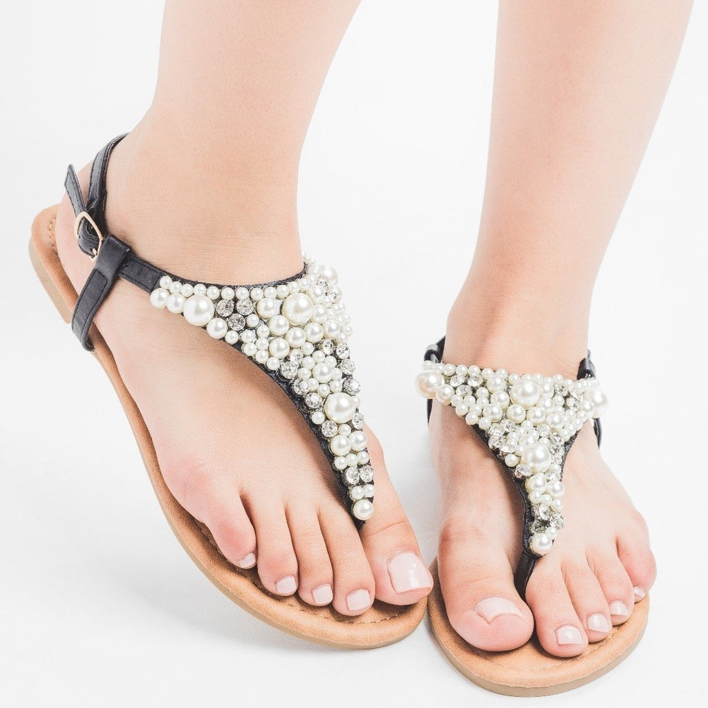 Womens Pearly Thong Sandals - Qupid Shoes - Black / 7.5