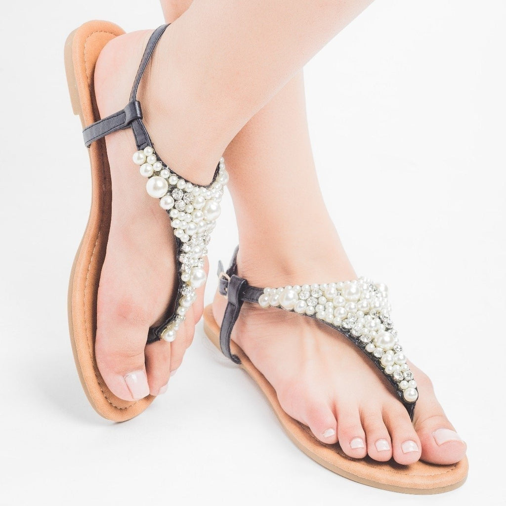 Womens Pearly Thong Sandals - Qupid Shoes