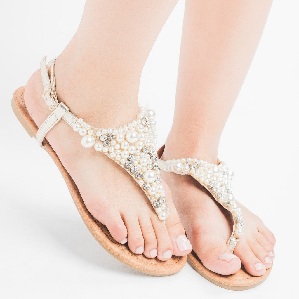 Womens Pearly Thong Sandals - Qupid Shoes - Gold / 5