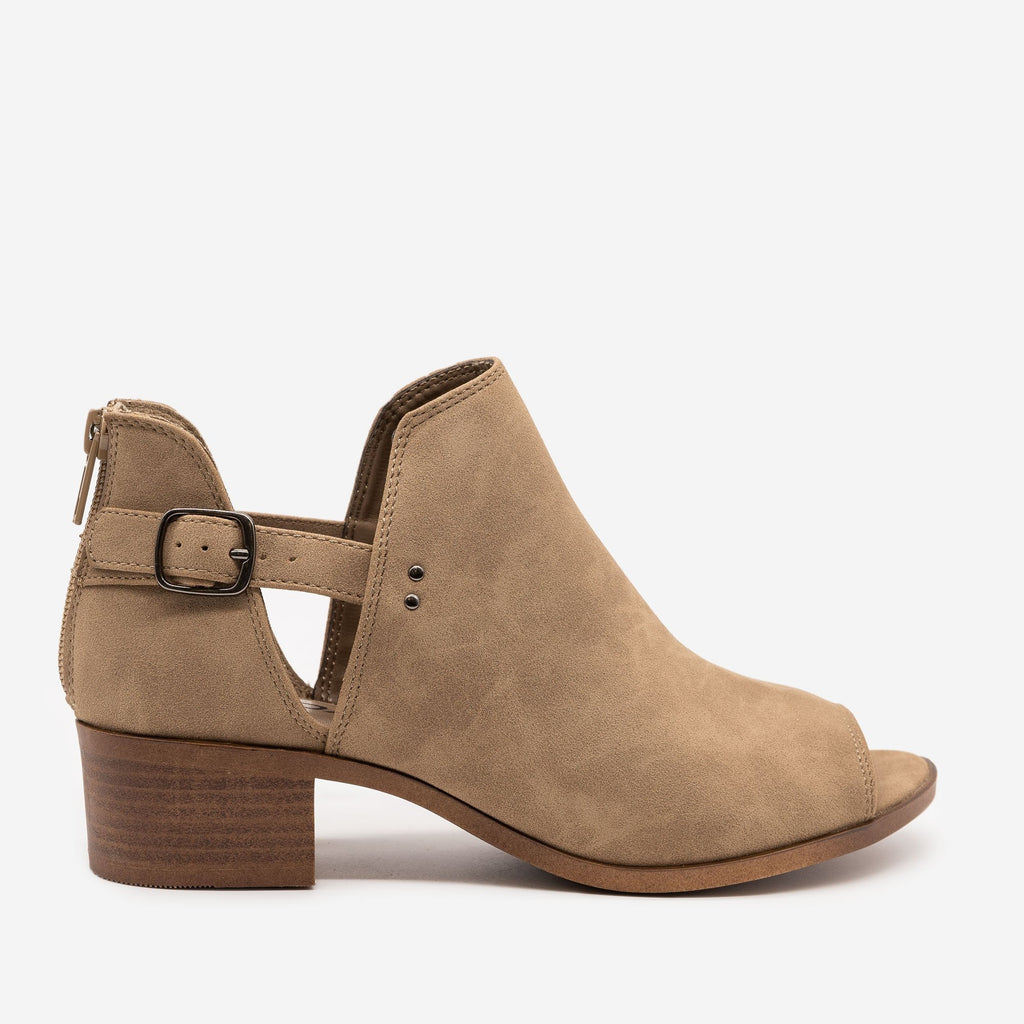 Women's Peep Toe Cut Out Booties - Soda Shoes - Taupe / 5