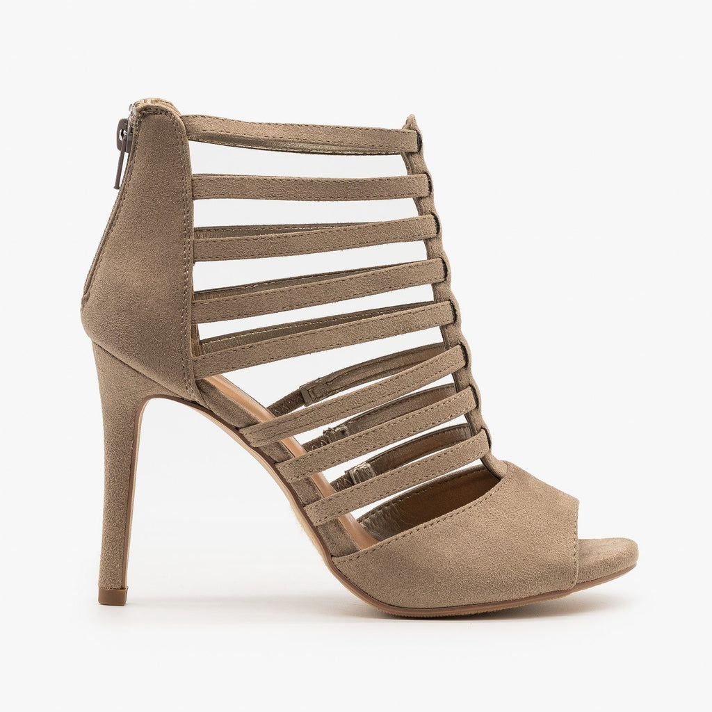 Womens Peep Toe Gladiator Heels - Delicious Shoes - Clay / 5