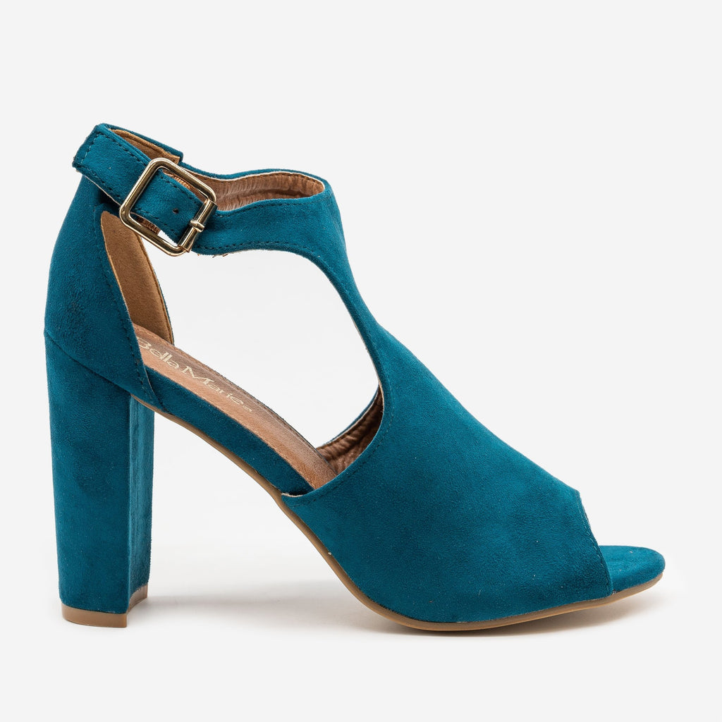 Women's Peep Toe High Heels - Bella Marie - Turquoise / 5