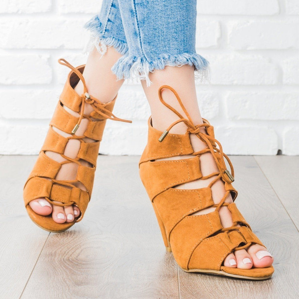 Womens Peep Toe Lace-Up Heels - Bamboo Shoes