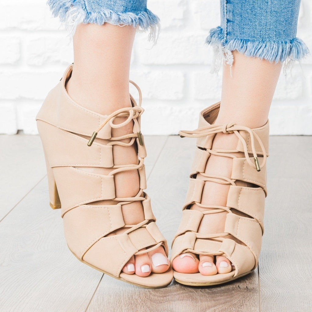 Womens Peep Toe Lace-Up Heels - Bamboo Shoes - Natural / 5