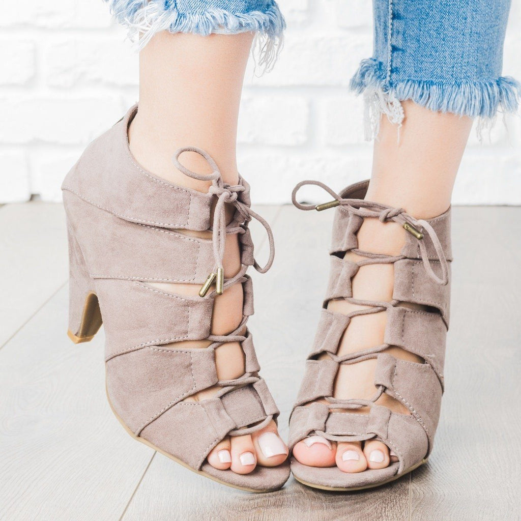 Womens Peep Toe Lace-Up Heels - Bamboo Shoes - Taupe / 8.5