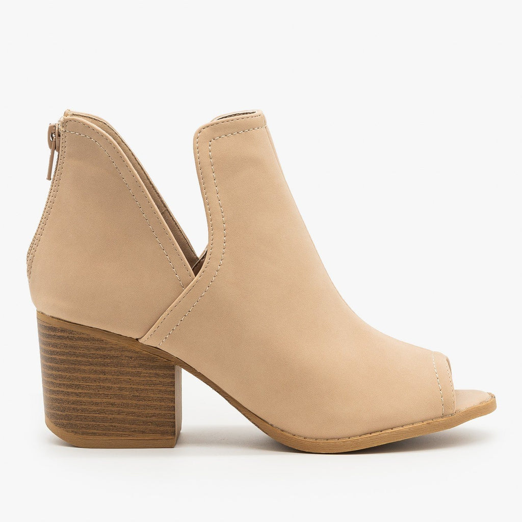 Womens Peep Toe Side Cut Booties - Qupid Shoes - Warm Taupe / 5