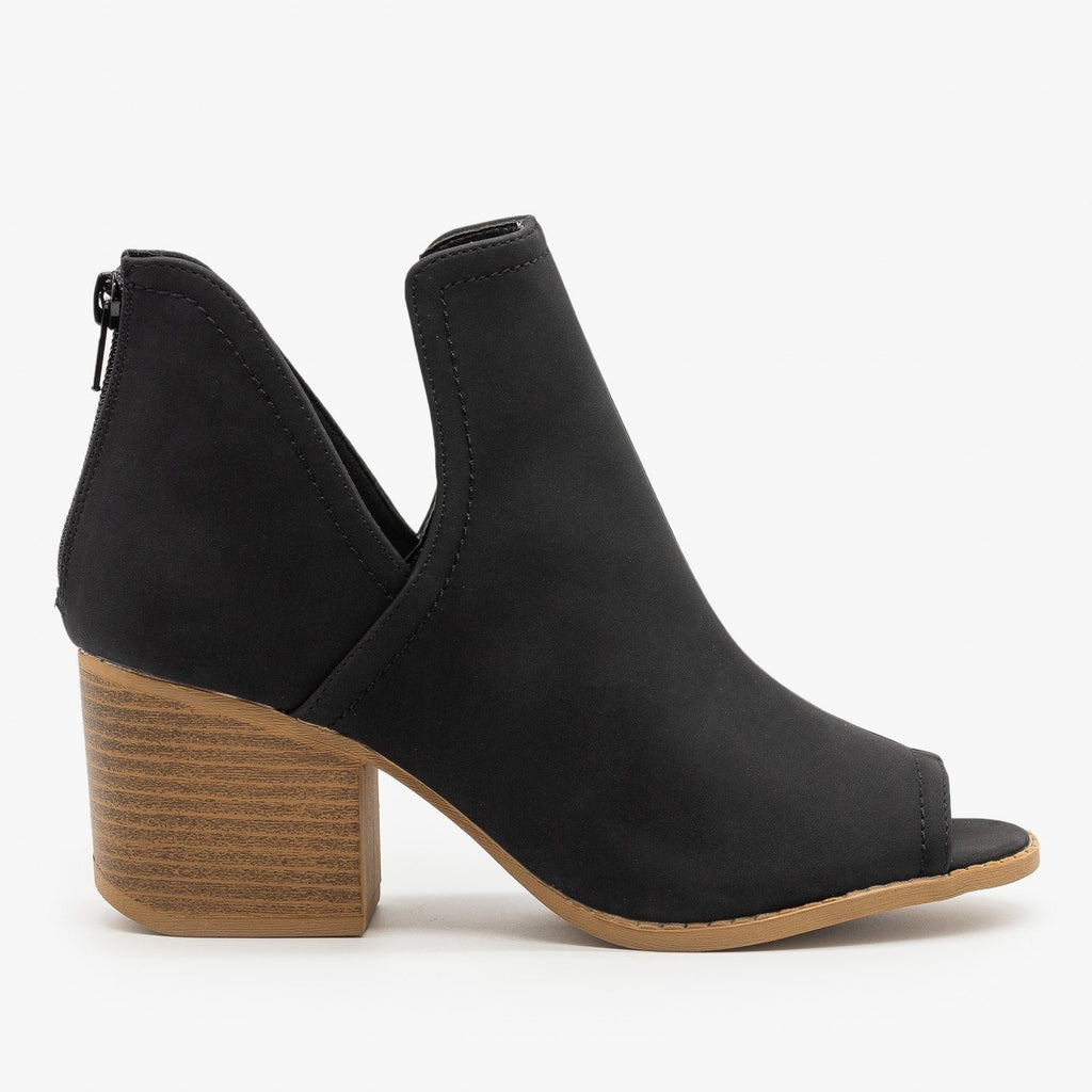 Womens Peep Toe Side Cut Booties - Qupid Shoes - Black Nubuck / 5