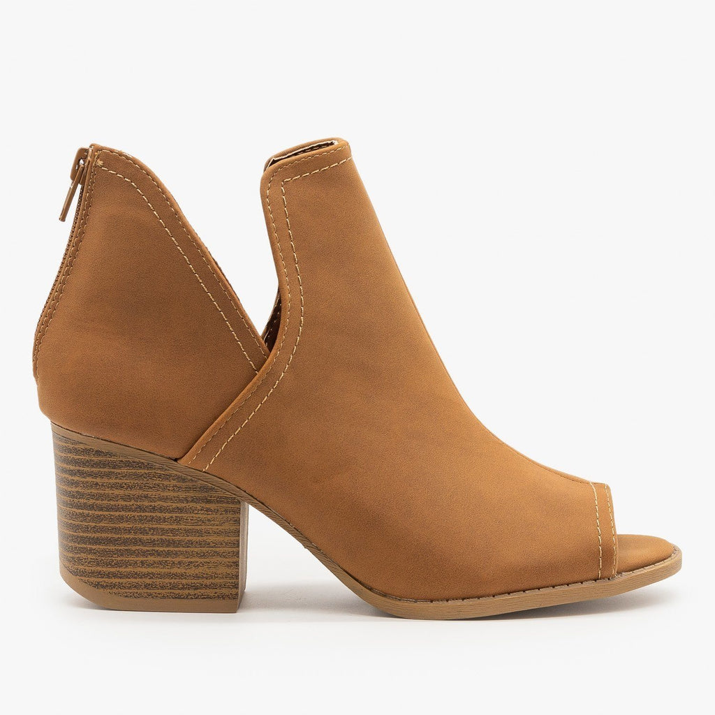 Womens Peep Toe Side Cut Booties - Qupid Shoes - Cognac / 5