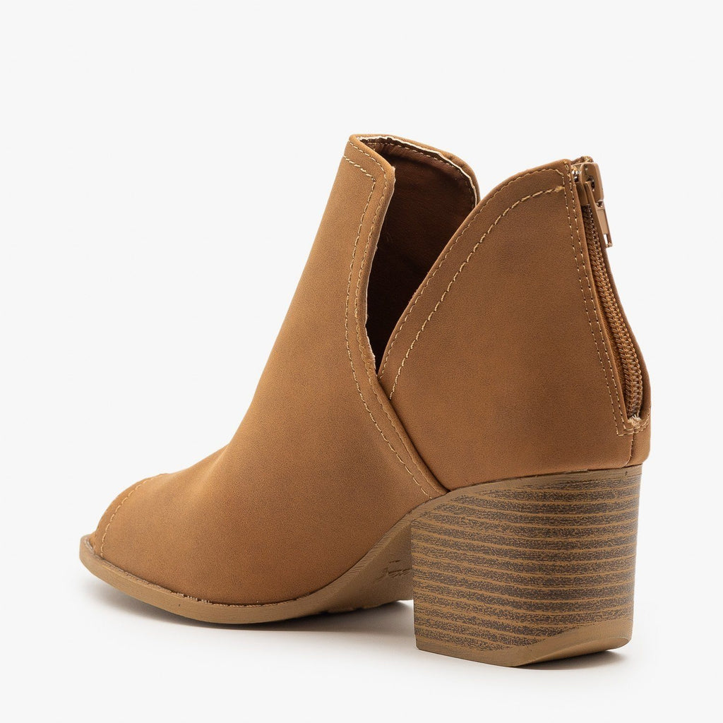 Womens Peep Toe Side Cut Booties - Qupid Shoes