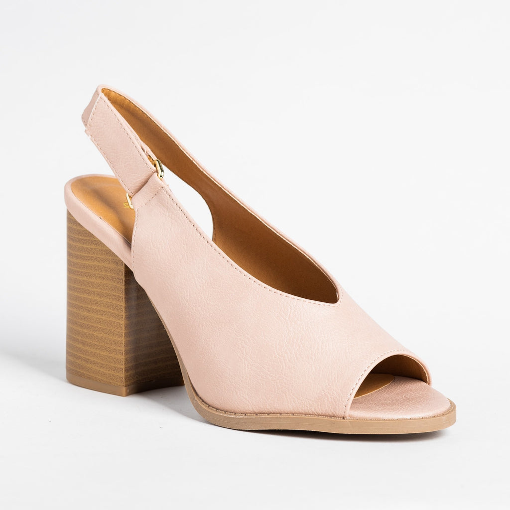 Womens Peep Toe Slingback Heels - Qupid Shoes - Nude / 5