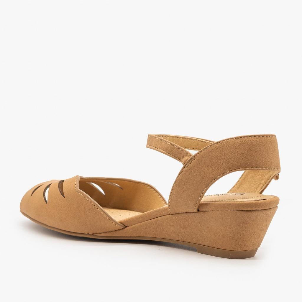 Womens Peep Toe Wedge Sandals - City Classified Shoes