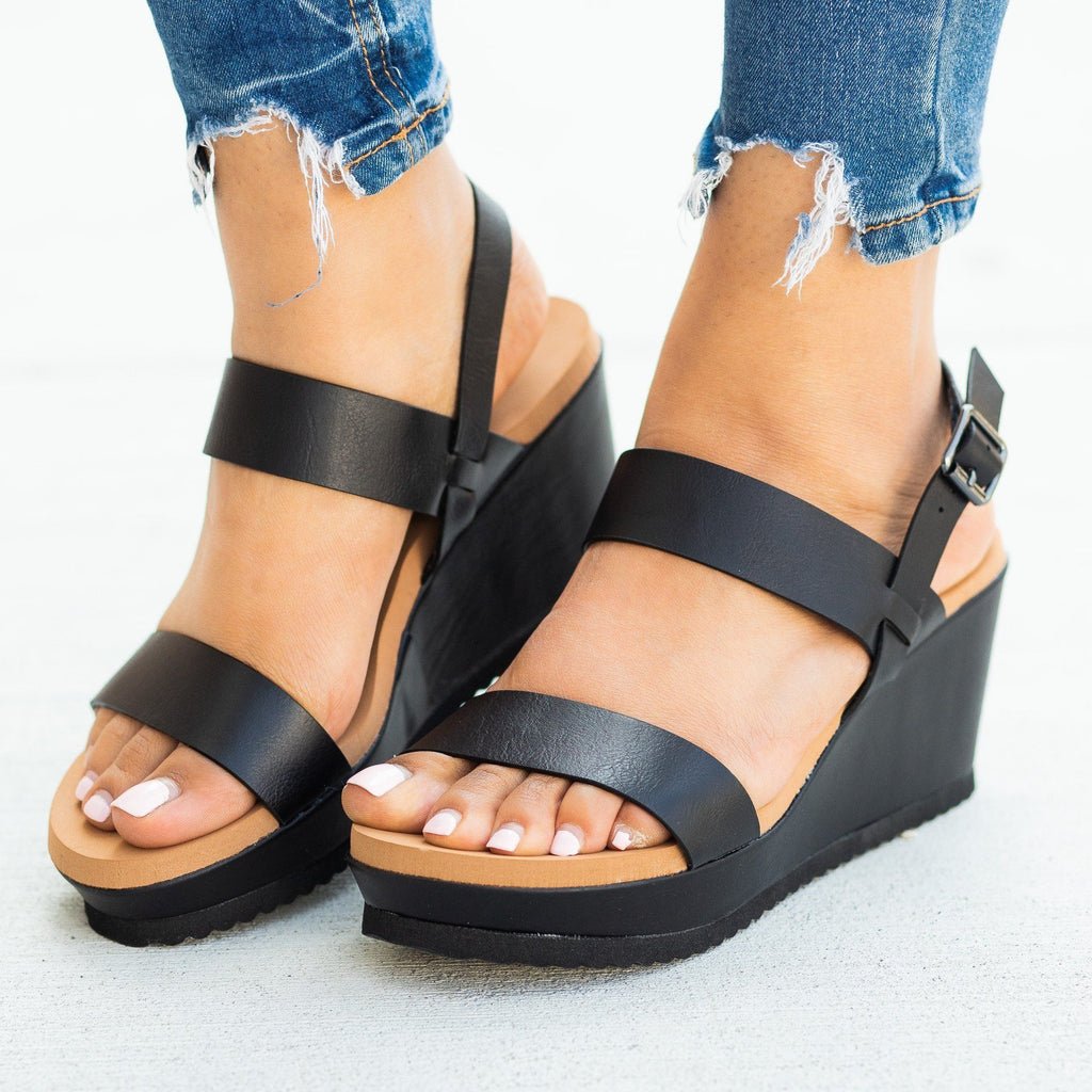 Womens Perfect Comfy Summer Sandal Wedges - Bamboo Shoes - Black / 5
