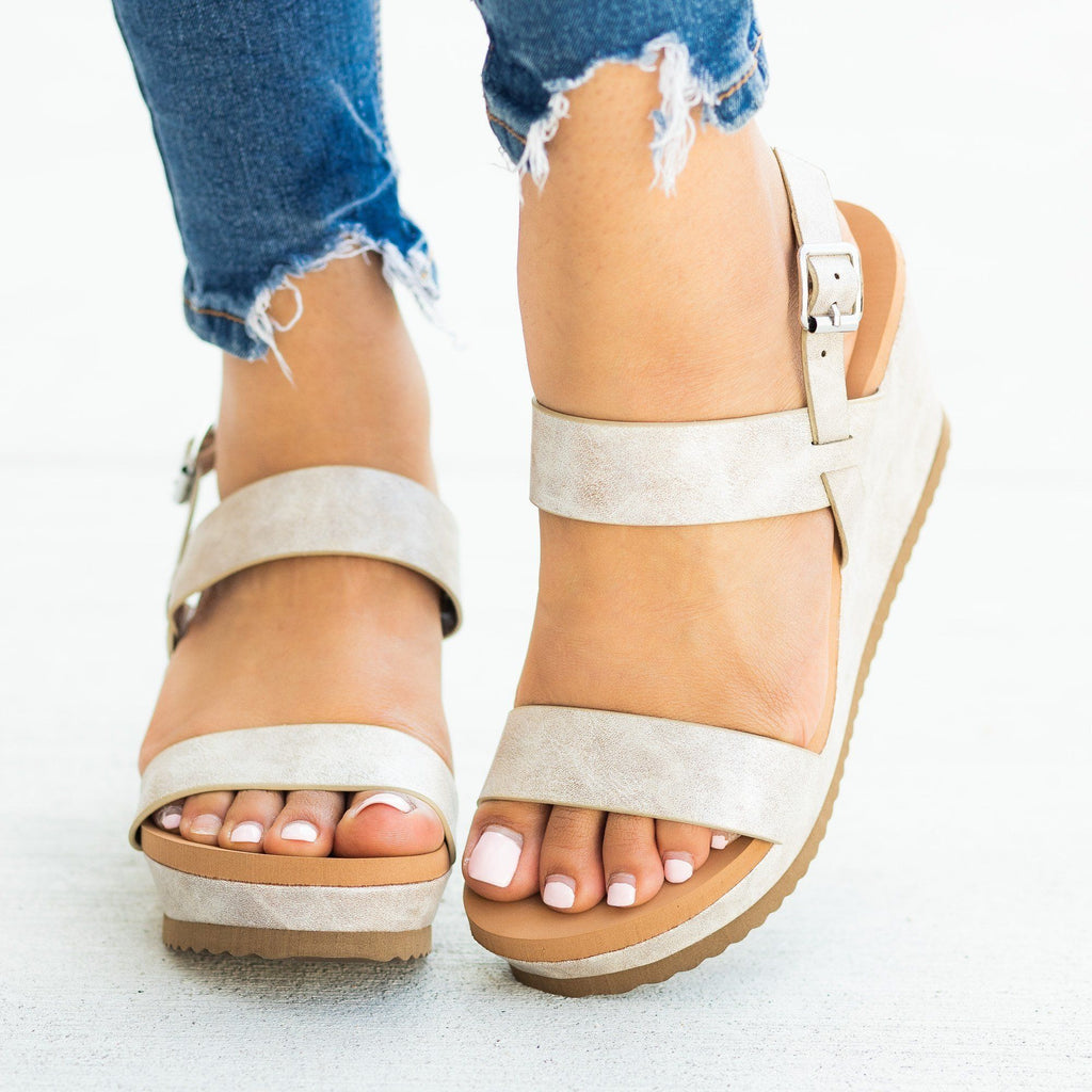 Womens Perfect Comfy Summer Sandal Wedges - Bamboo Shoes - Silver / 5
