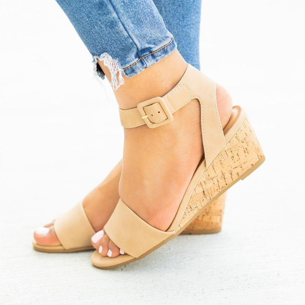 Womens Perfect Cork Summer Wedges - City Classified Shoes - Natural / 5
