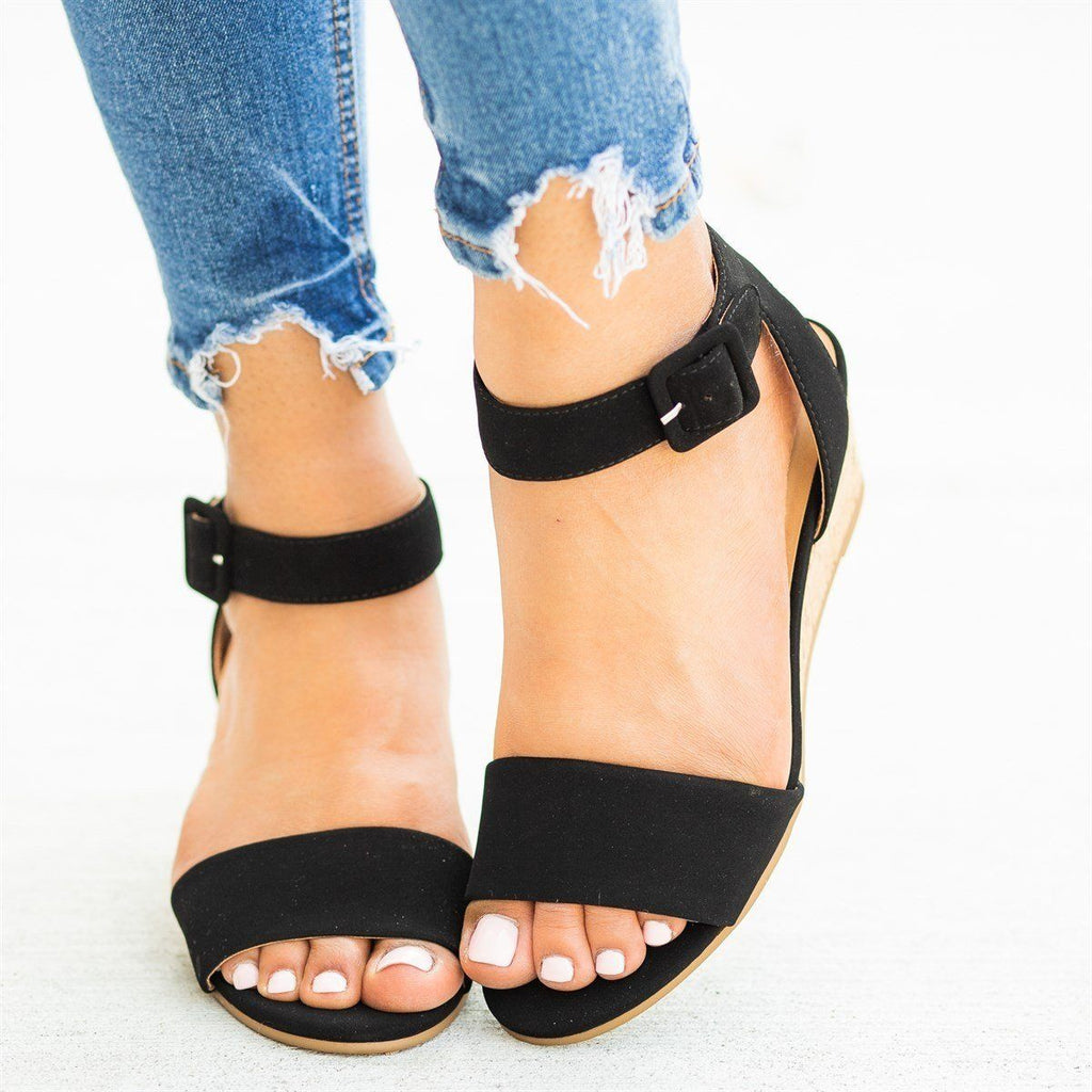 Womens Perfect Cork Summer Wedges - City Classified Shoes - Black / 5
