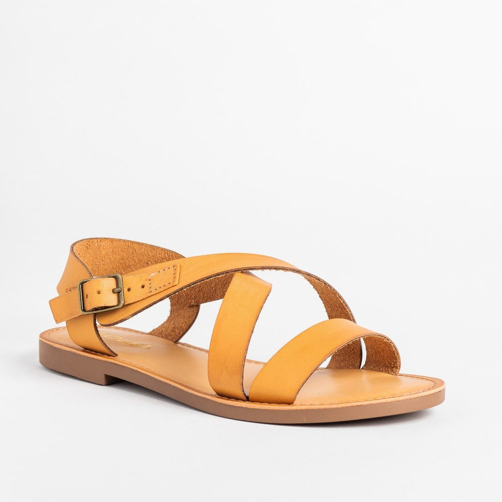 Womens Perfect Criss Cross Sandals - Soda Shoes - Natural / 5