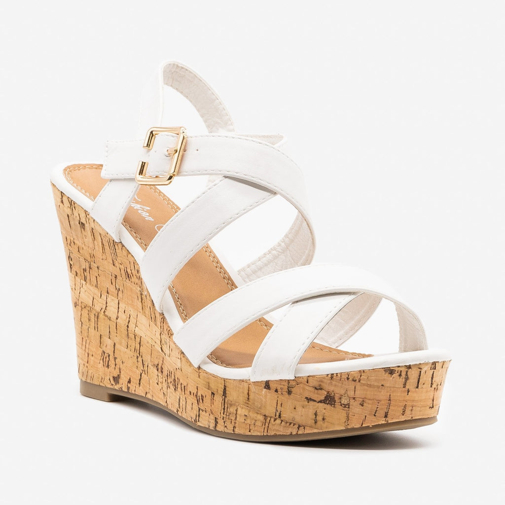 Women's Perfect Criss Cross Summer Cork Wedges - Fashion Focus